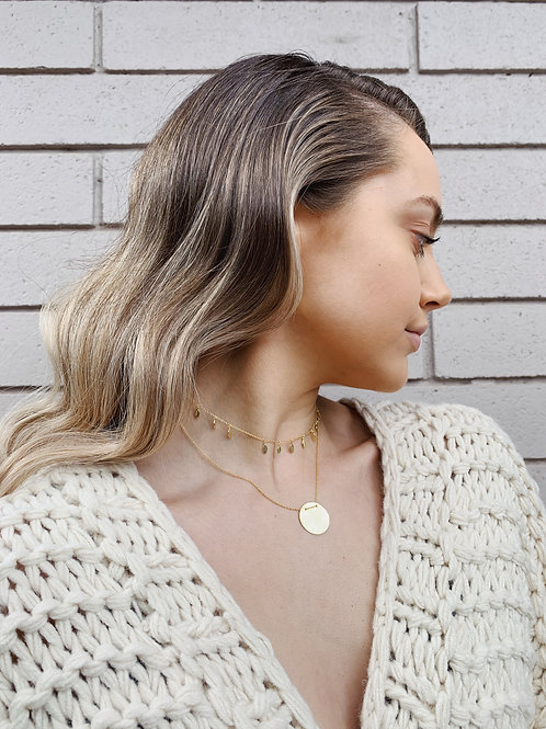 Brushed Disc Necklace - Gold and Silver