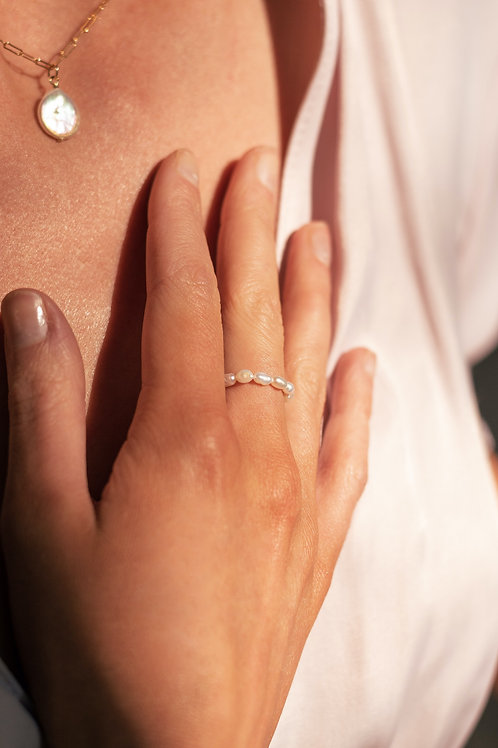 Audrey Rice Pearl Ring