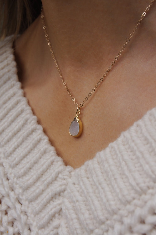 Rosie Necklace- Druzy Moonstone