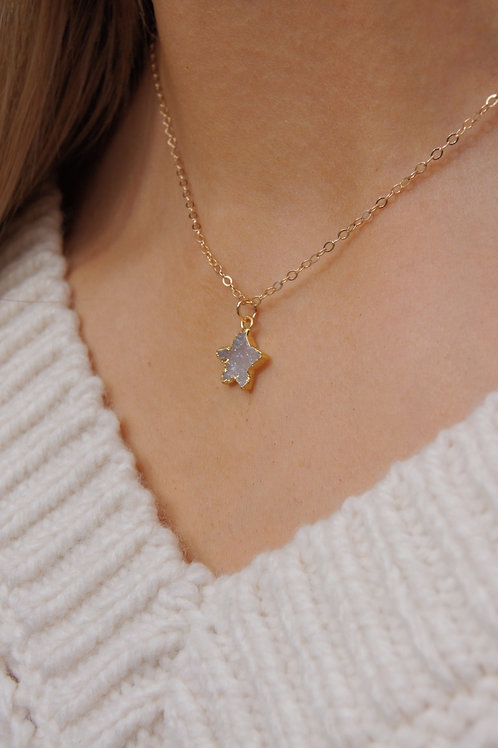 Esther Necklace - Druzy Moonstone