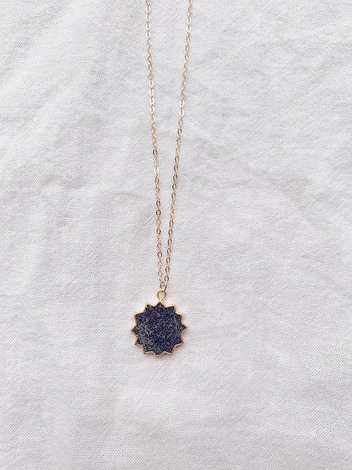 Sol Necklace - Black Druzy Sun stone