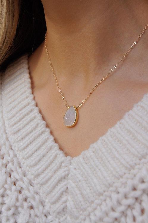 Iris  Necklace -Druzy Moonstone