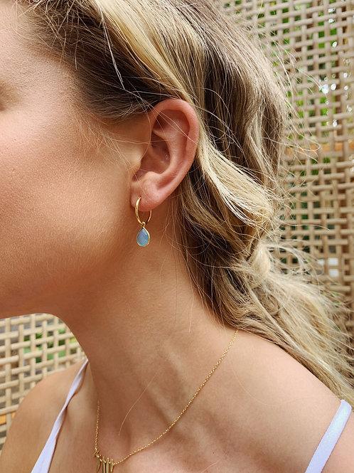 Skye Earrings - Aquamarine/Gold