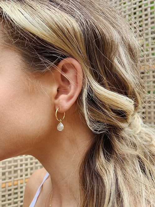 Skye Earrings - 14k gold plated sterling silver. Citrine drop