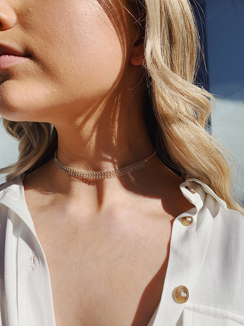 Silver Double Chain Choker