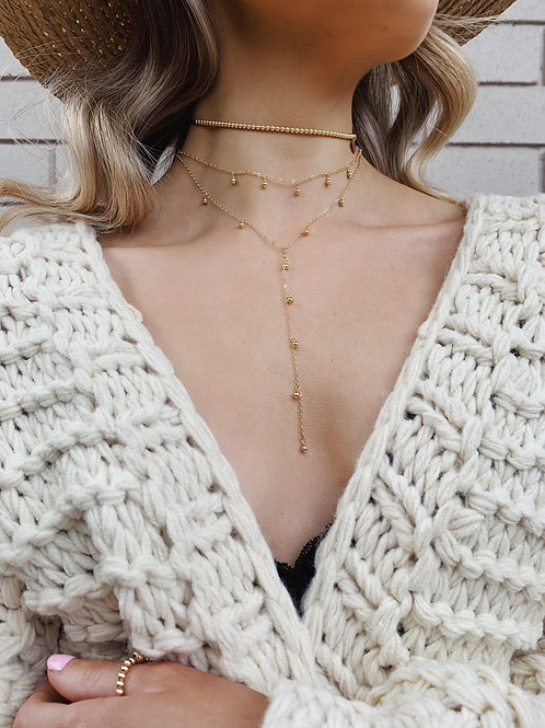 Drop Bead V Necklaces - Gold, Silver, Gold + Silver