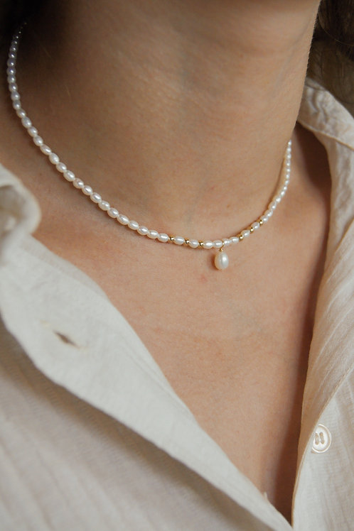 Sophia Pearl Necklace with Gold Detail