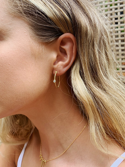 Evie Earring - Grey stone/Gold