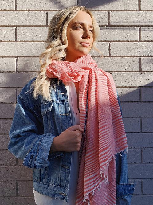 Red Stripe 100% cotton Scarf