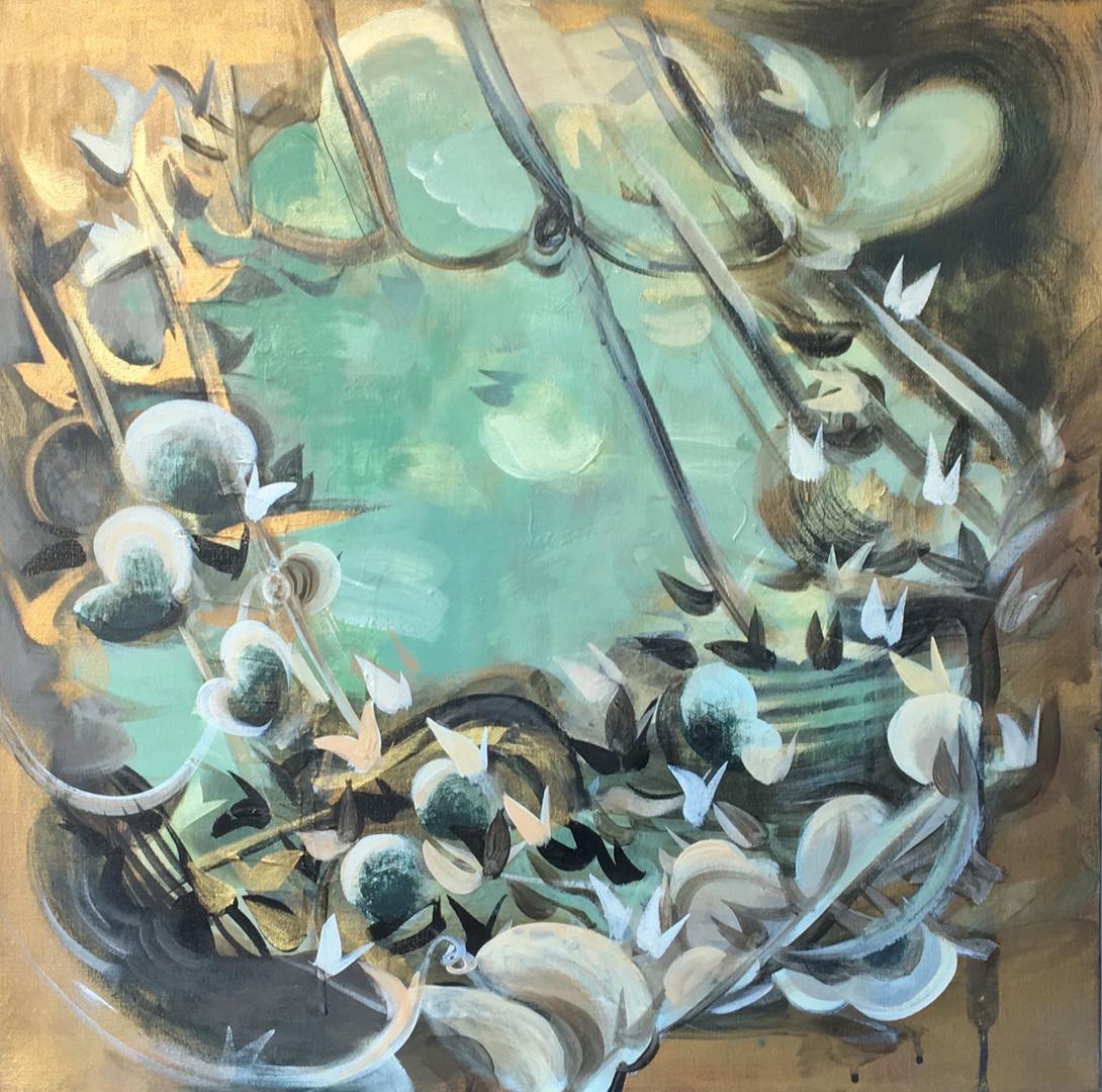 """Veiled #12 acrylic and metallic paint on canvas 20"""" x 20"""""""