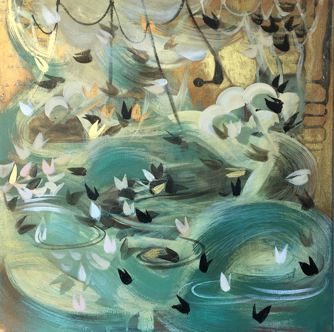 """Veiled #8 acrylic and metallic paint on canvas 20"""" x 20"""""""