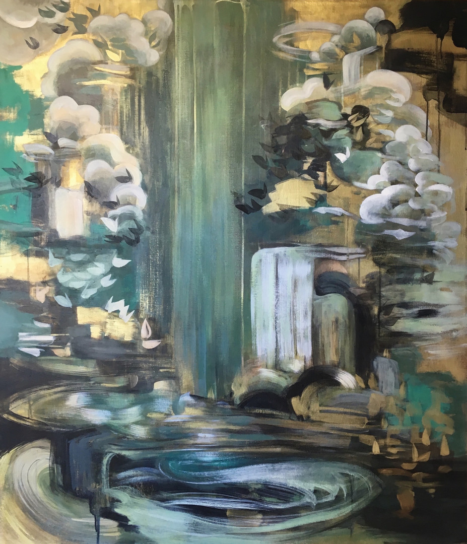 "Nimbus 3 acrylic and metallic paint on canvas 38"" x 44"""