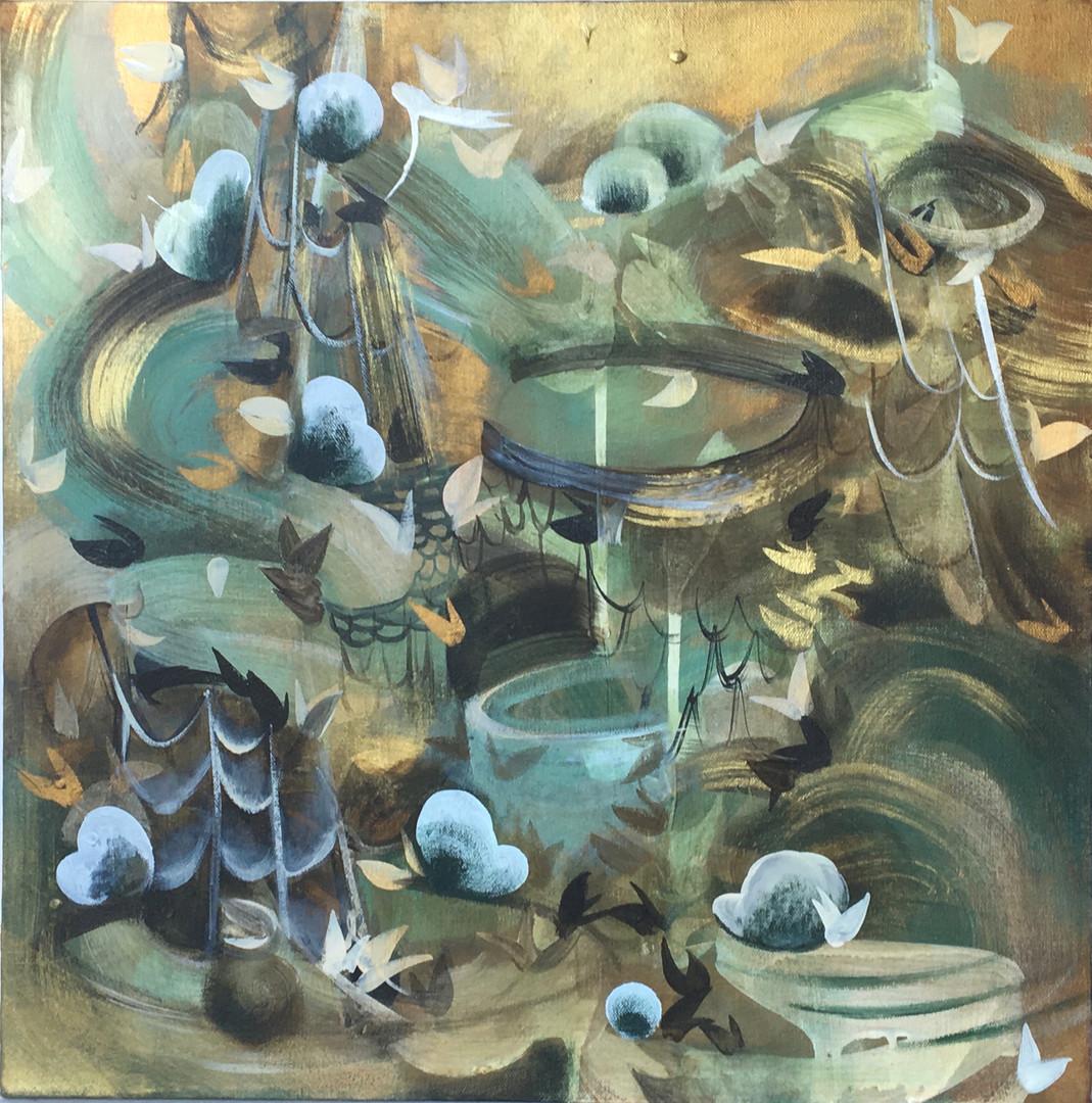 """Veiled #7 acrylic and metallic paint on canvas 20"""" x 20"""""""