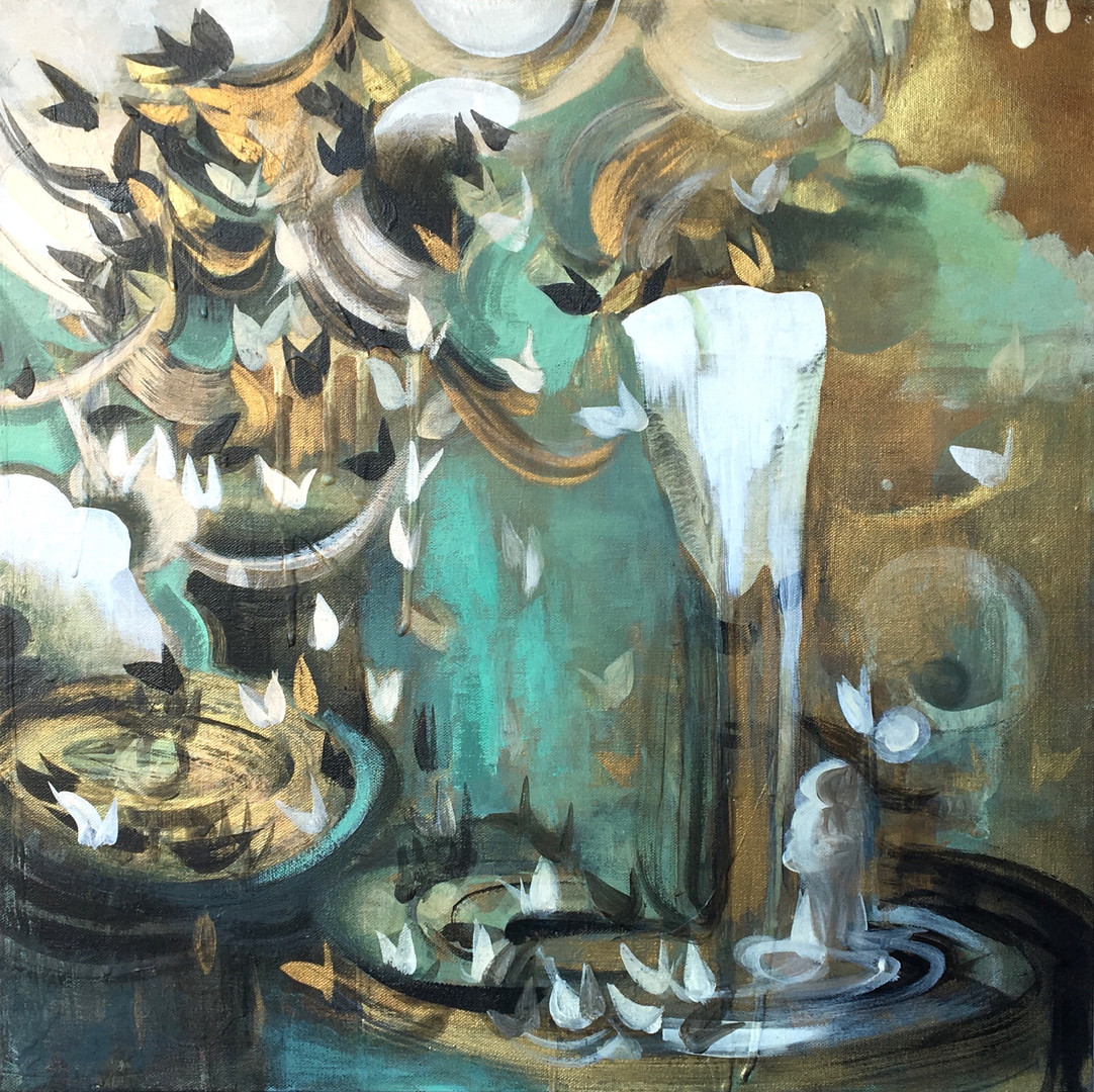 """Veiled #6 acrylic and metallic paint on canvas 20"""" x 20"""""""