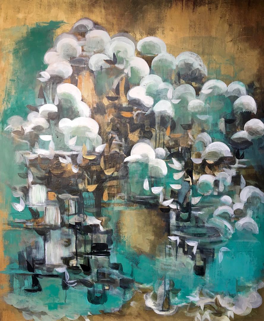 "Nimbus 3 acrylic and metallic paint on canvas  30"" x 36"""