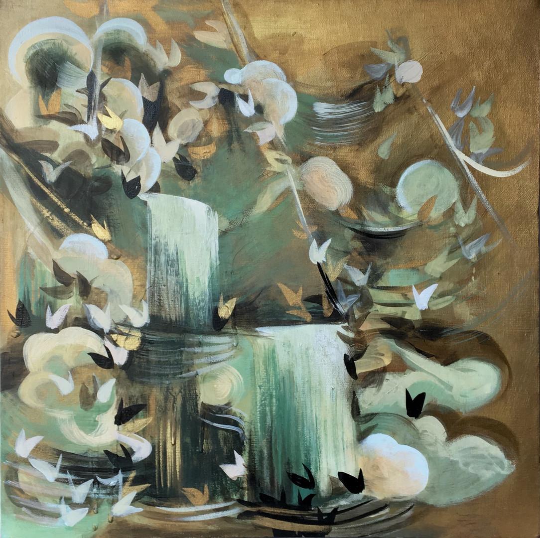 """Veiled #9 acrylic and metallic paint on canvas 20"""" x 20"""""""
