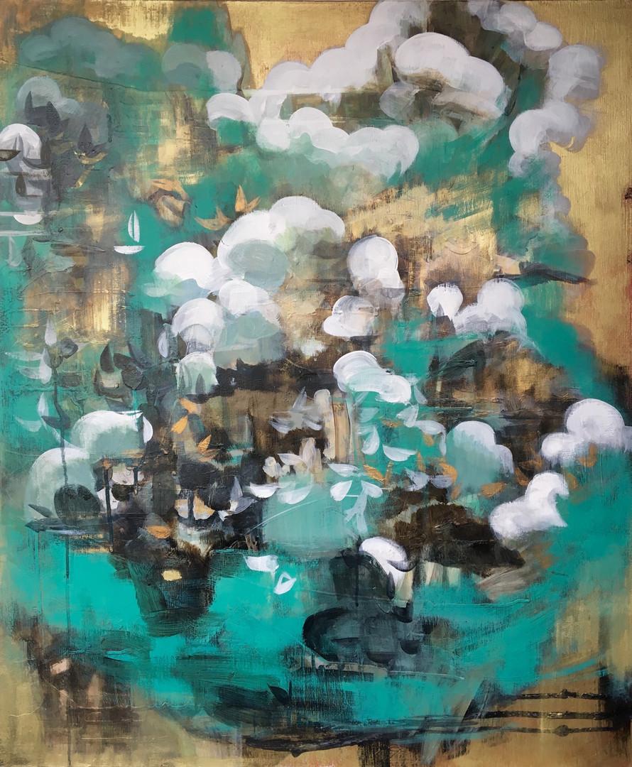"Nimbus 1 acrylic and metallic paint on canvas 30"" x 36"""