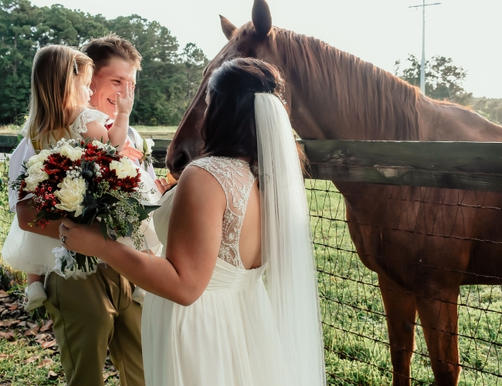Newlyweds and Flower Girl Petting Horse