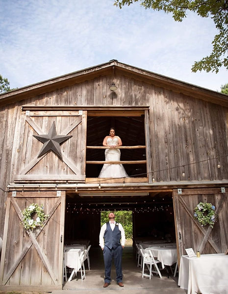 Bride and groom at their wedding at the farm