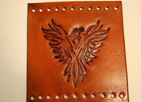 Tribal Eagle Pheonix Leather Motorcycle Grip Covers