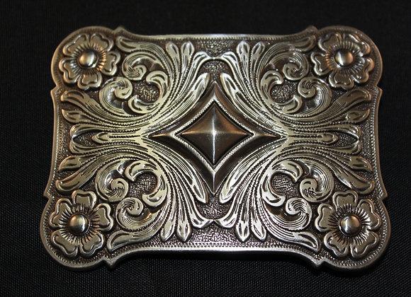 Western Cowboy Engraved Floral Antiqued Silver Trophy Belt Buckle