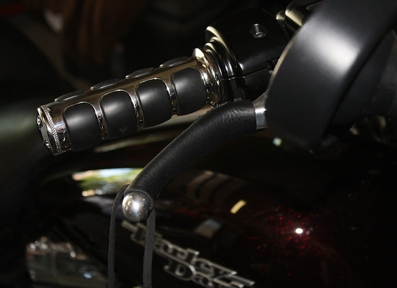 Leather Motorcycle Grip and Lever Covers Set No Fringe