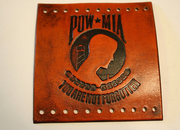 Leather Motorcycle Grip Covers POW/MIA
