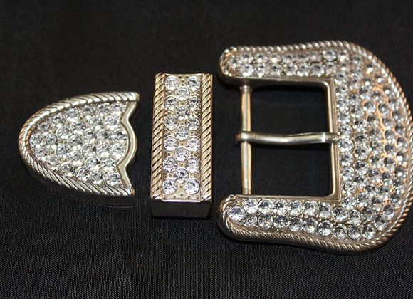 Western Bling Jeweled Crystal Silver Belt Buckle