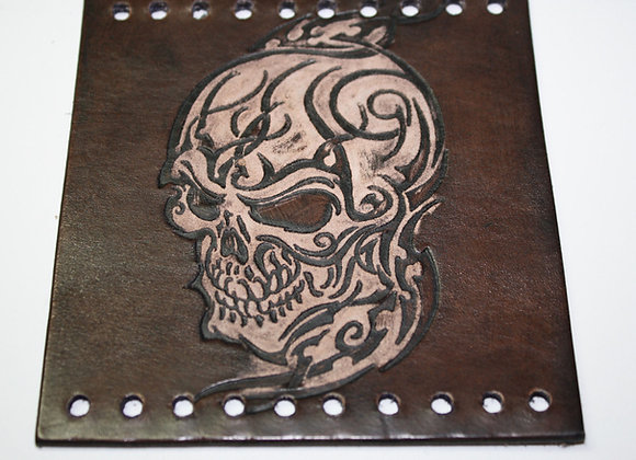 Antiqued Black Leather Detailed Tribal Skull Motorcycle Grip Covers