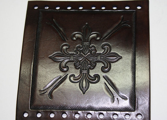 Leather Hand Tooled Fleur De Lis Motorcycle Grip Cover