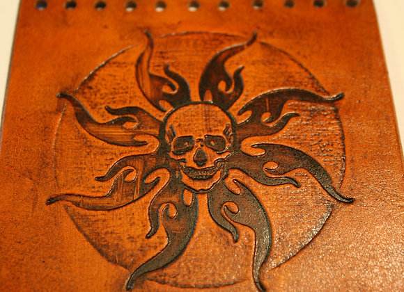 Skull & Flames Leather Motorcycle Grip Covers