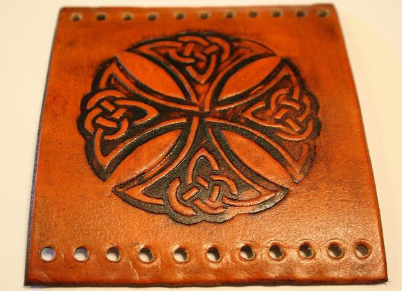 Celtic Maltese Cross Leather Motorcycle Grip Covers Celtic Maltese Cross
