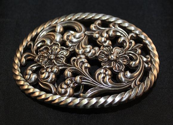 Floral & Rope Western Antiqued Silver Oval Trophy Belt Buckle