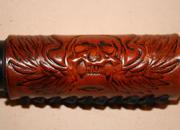 Winged Skull Leather Motorcycle Grip Covers