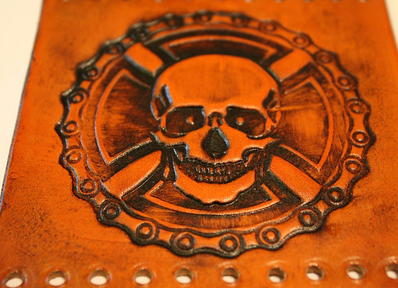 Skull & Chain Leather Motorcycle Grip Covers