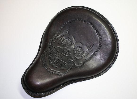 Antique Black Leather Motorcycle Bobber Chopper Custom Skull Seat