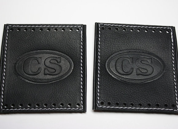 Black Leather Grip Cover Set with C.S. Insignia and Leather Edge Piping