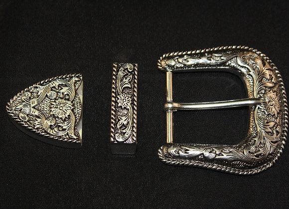 Western Rodeo Floral Silver Antiqued Patina Belt Buckle Set