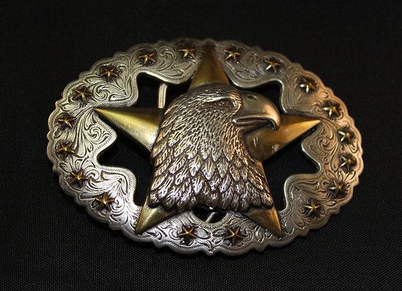 Western Eagle Star Antiqued Silver Gold Oval Trophy Belt Buckle