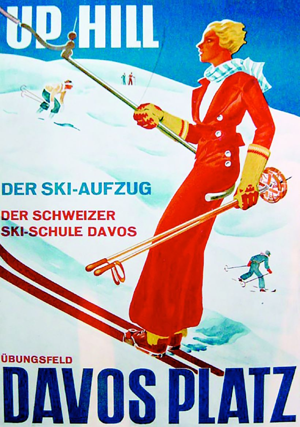 Werbung Skilift Davos 1934