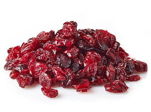 Dried cranberries isolated on white back