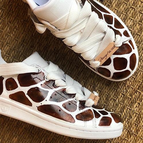 Adidas Stan smith personnalisées Safari Girafe