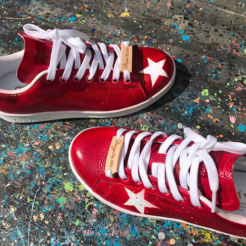 Adidas Stan Smith personnalisées custom Red Stars