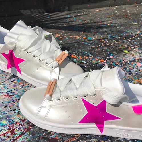 Adidas Stan Smith personnalisées Custom Silver Fluo Star