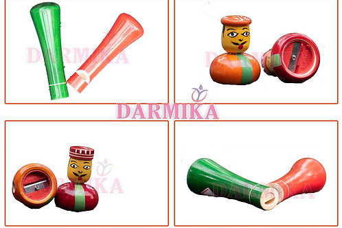 Darmika Wooden Pencil Sharpener and  Whistle for Kids each 1