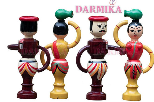 Darmika Wood Toy Handmade Woman for Kids and Home Decoration - Channapatna Toys