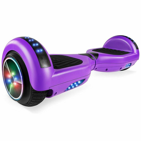 6.5'' Hoverboard with LED Lights and Bluetooth for Kids (Matte Purple)