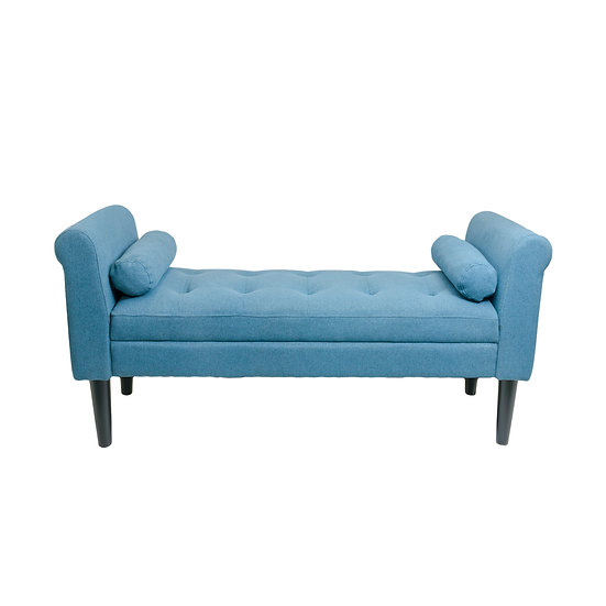 Serene Decor Bedroom Bench with Rolled Arms (Sapphire Blue)