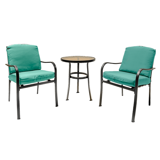 3PC Outdoor Patio Furniture with Soft Detachable Cushions (Green)