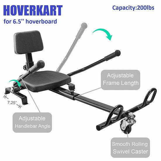 Self-Balancing Scooter Attachment Adjustable HoverKart for 6.5'' Hoverboard, Blk